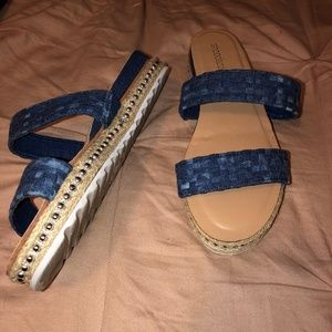 Blue Strappy Platform Sandals Sz 8 Slip On JustFab